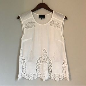 White Battenburg Lace Top
